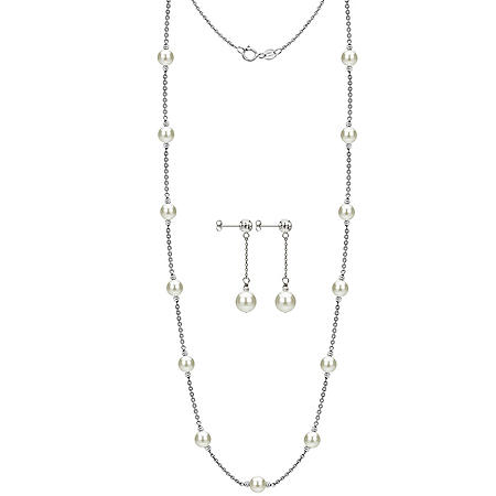 "White Freshwater Cultured Pearl 36"" Station Necklace and Earring Set"