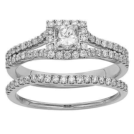 1.0 ct. t.w. Princess Cut Diamond Bridal Set in 14K Gold