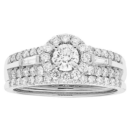 1.0 CT. T.w. Diamond Halo Bridal Ring Set in 14K Gold