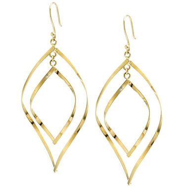 14K Yellow Gold Marquis Drop Earrings