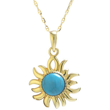Turquoise and 14K Yellow Gold Pendant