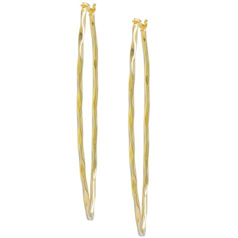 14K Yellow Gold Twisted Marquis Hoop Earrings