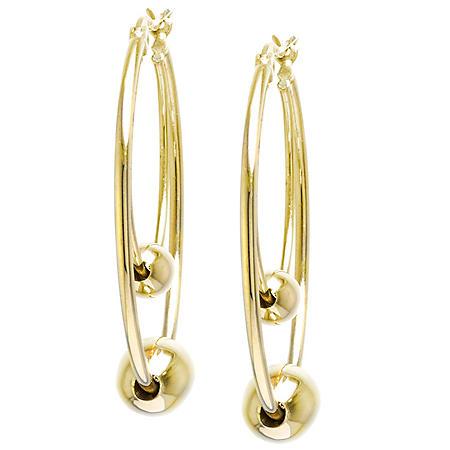 14K Yellow Gold Beaded Hoop Earrings