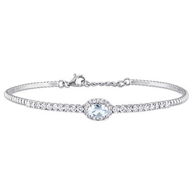 0.40 CT. Aquamarine and 0.63 CT. Diamond-Accent Bangle Bracelet in 14K White Gold