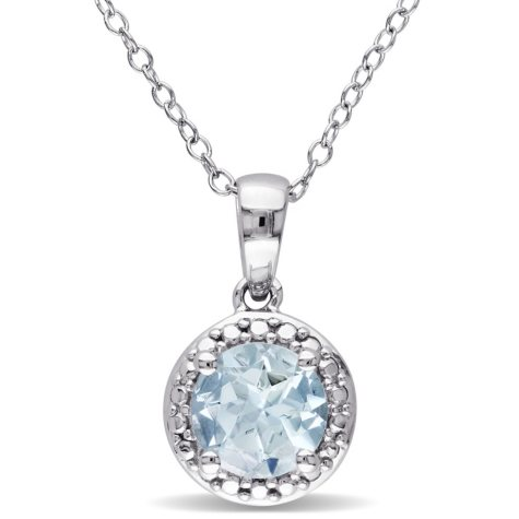 1.15 CT. Aquamarine Halo Pendant in Sterling Silver