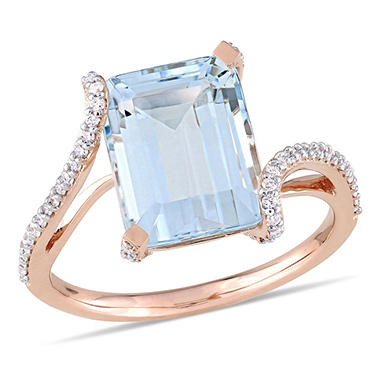 3.42 CT. Aquamarine and Diamond-Accent Swirl Ring in 14K Rose Gold