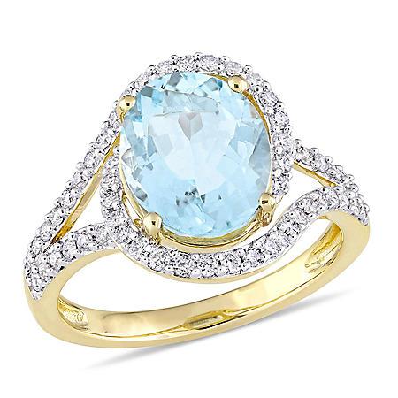 2.77 CT. Aquamarine and Diamond-Accent Halo Swirl Ring in 14K Yellow Gold