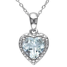 1.5 CT. Aquamarine Hearth Halo Pendant in Sterling Silver