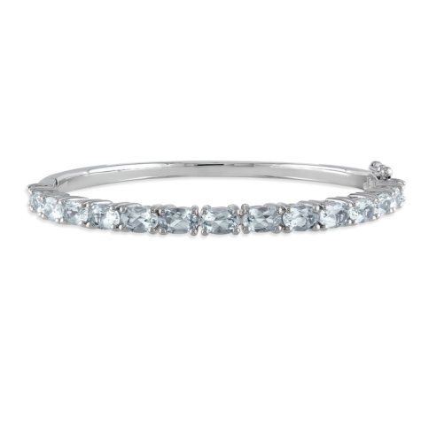 6.3 CT. Aquamarine Bangle Bracelet in Sterling Silver