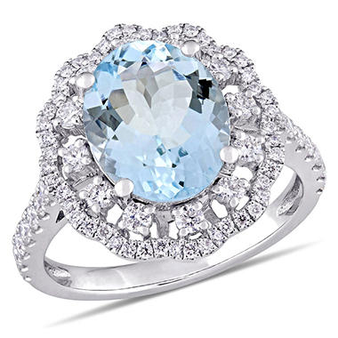 2.77 CT. Aquamarine and Diamond-Accent Halo Cocktail Ring in 14K White Gold