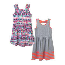 Pink & Violet Girl's 2-Pack Dress (Grey & Coral)