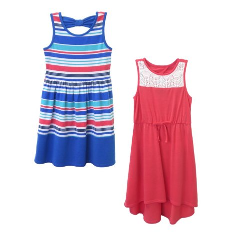 Pink & Violet Girl's 2-Pack Dress (Royal & Coral)