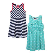 Pink & Violet Girl's 2-Pack Dress (Navy & Mint)