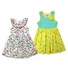 Nannette Girls' 2-Pack Yellow & Fish Print Dresses