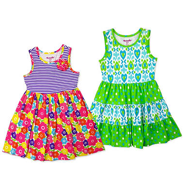 Nannette Girls' 2-Pack Blue/Green & Floral Dresses
