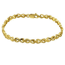 "14K Diamond-Cut ""X"" and ""O"" Bracelet"