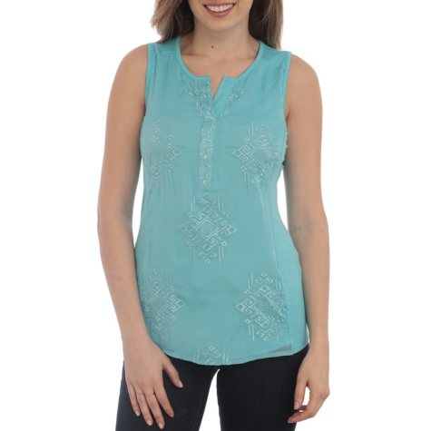 RXB Women's Sleeveless Embroidered Top