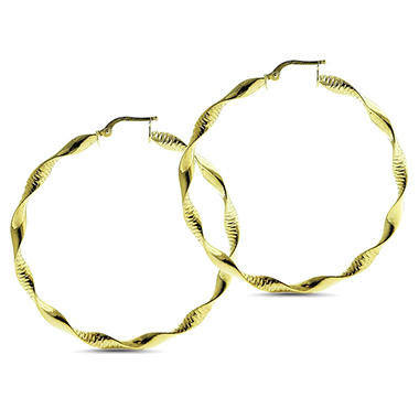14K Gold Diamond Cut Twist Round Hoop Earrings
