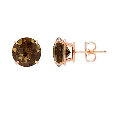 9mm Gemstone Stud Earrings in 14K Rose Gold