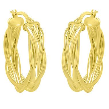 14k Italian Yellow Gold Woven Hoop Earrings Sam S Club