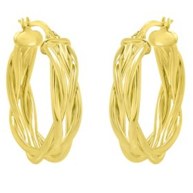14K Italian Yellow Gold Woven Hoop Earrings