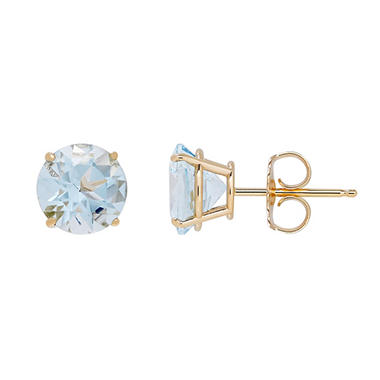 7mm Gemstone Stud Earrings in 14K Gold