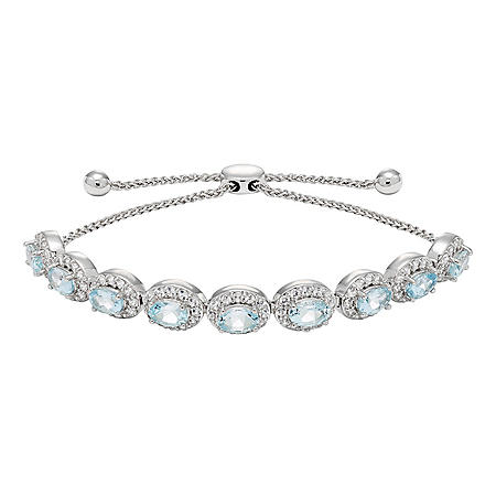Aquamarine and White Topaz Bolo Bracelet