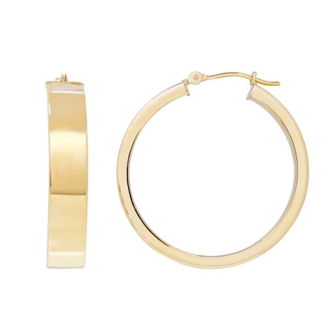 14K Yellow Gold Rectangle Tube Hoop Earrings