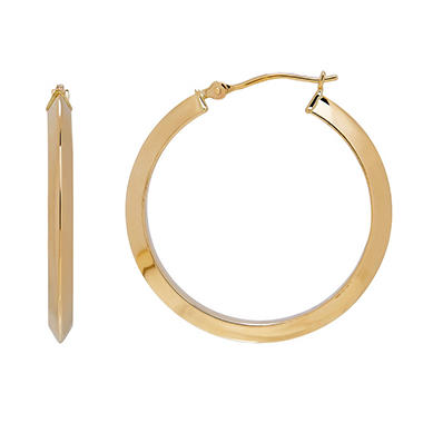 14k Yellow Gold Knife Edge Hoop Earrings