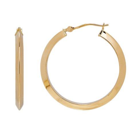 14K Yellow Gold Knife Edge Hoop Earrings
