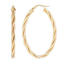 14K Italian Gold Oval Twist Hoop Earrings