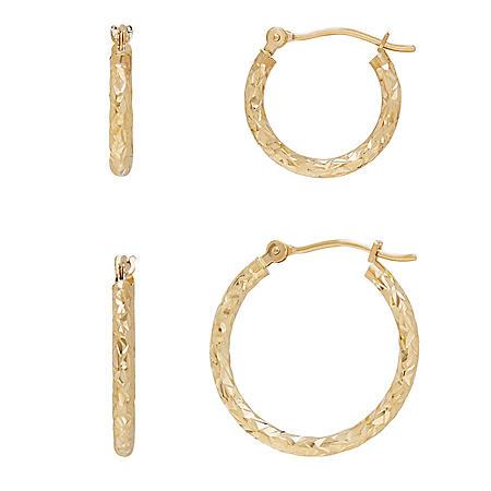 14K Yellow Gold Diamond-Cut Hoop Set
