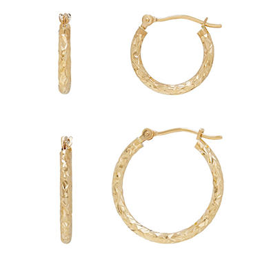 14K Yellow Gold Diamond-Cut Hoop Set