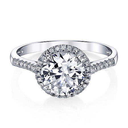 Created White Sapphire Ring with .11 ct. t.w. Diamond Accent in 14K Gold