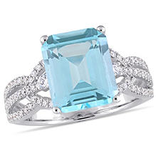3.42 CT. Blue Topaz and 0.47 CT. Diamond Accent Cocktail Ring in 14K White Gold
