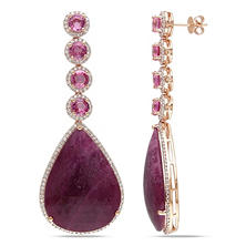 62.33 CT. Pink Sapphire and 1.25 CT. Diamond Teardrop Earrings in 14K Rose Gold