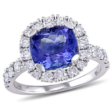 Allura 1.93 CT. Tanzanite and 1.04 CT. T.W. Diamond Halo Engagement Ring in 18K White Gold