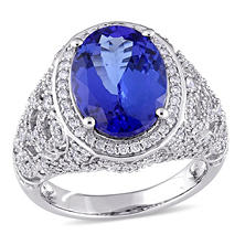 4.85 CT. Tanzanite and 0.90 CT. Diamond Accent Vintage Cocktail Ring in 14K White Gold