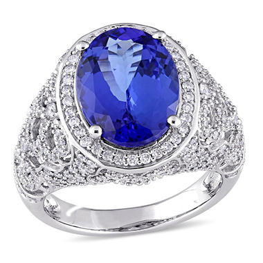 Allura 4.85 CT. Tanzanite and 0.90 CT. Diamond Accent Vintage Cocktail Ring in 14K White Gold