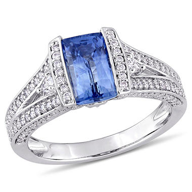 2.18 CT. Blue Sapphire and 0.61 CT. Diamond Accent Vintage Cocktail Ring in 14K White Gold