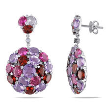 16.40 CT. Amethyst, Garnet with Pink Tourmaline and Diamond Accent Cluster Earrings in 14K White Gold