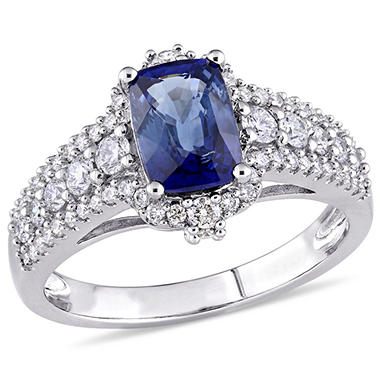 1.6 CT. Blue Sapphire and 0.75 CT. Diamond Accent Vintage Cocktail Ring in 14K White Gold