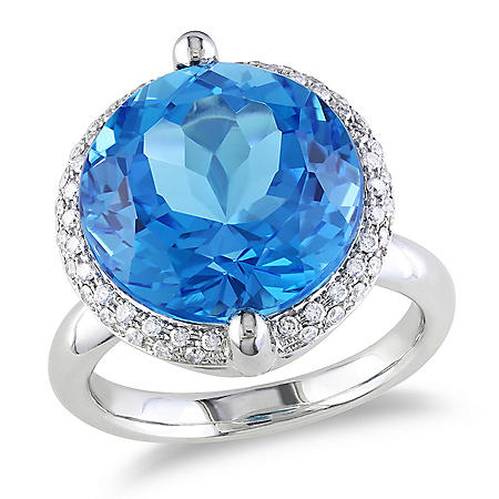 Allura 12 CT. Blue Topaz and Diamond Accent Halo Cocktail Ring in 14K White Gold