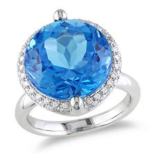12 CT. Blue Topaz and Diamond Accent Halo Cocktail Ring in 14K White Gold