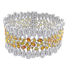 28.45 CT. Yellow Sapphire and 6.33 CT. Diamond Cuff Bracelet in 14K Two-Tone Gold