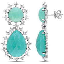 21.88 CT. Green Onyx and 1.50 CT. Diamond Halo Teardrop Earrings in 14K White Gold