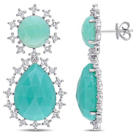 21.88 CT. Green Onyx and 1.50 CT. Diamond Halo Teardrop Earrings in 14K White Gold