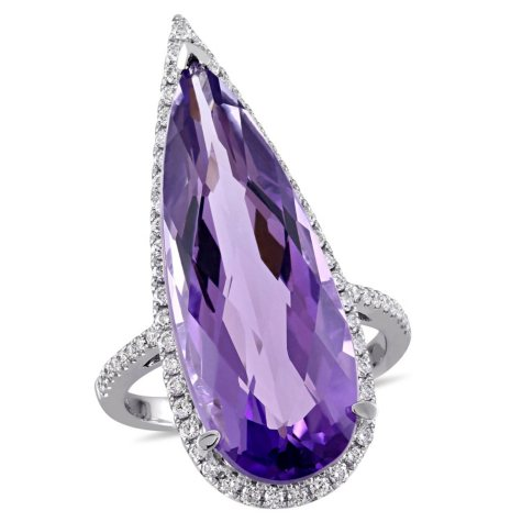Allura 14.17 CT. Amethyst and 0.48 CT. Diamond Accent Cocktail Ring in 14K White Gold