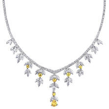 11.75 CT. Marquise and Round-Cut Diamond and 2.75 CT. Yellow Sapphire Chandelier Necklace in 14K White Gold