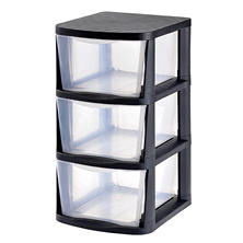 Muscle Rack 3-Drawer Clear Plastic Storage Tower with Black Frame